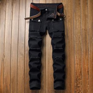 Neue Mens-Jeans in Used-Zipper zerrissene Jeans Herren-dünne Biker Hose schwarz Hip Hop-Denim-Hosen