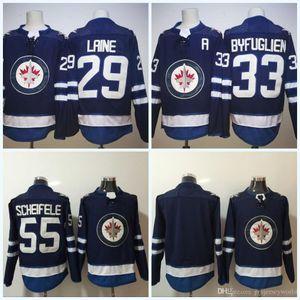 # 29 Patrik Laine 2017-2018 Temporada Mens 'Winnipeg Jets Jersey # 33 Dustin Byfugli # 55 Mark Scheifele #blank New Team Hockey Jerseys