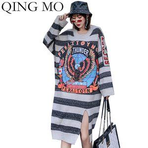 QING MO Inverno Donne Maglione pullover 2019 Aquila Donne Maglione Lettera ricamo femminile a strisce Dress Fork ZQY1980