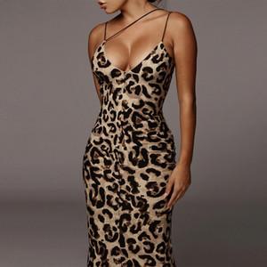 2020 леопардовые тонкие ремни спагетти MIDI платье элегантные бодиконкурс наряды женщин сексуальная клубная одежда леди