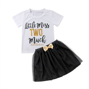 Pudcoco Girl Clothes 2Pcs Summer Toddler Baby Girl Letter с коротким рукавом футболки топы+пачка тюль кружева лук юбки наряды набор