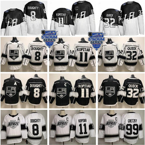 2020 Stadio Serie Los Angeles Kings Jersey 8 Drew Doughty 11 Anze Kopitar 32 Jonathan Quick Wayne Gretzky Bianco Nero Hockey Uomini Donne Kid