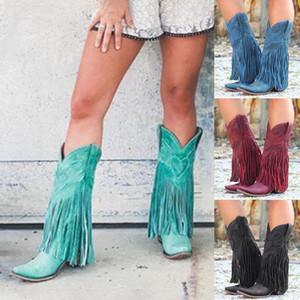 Vertvie Mulheres Outono-Inverno Botas Fringe Mid-bezerro botas Feminino Cowboy Low sapatos de salto Moda Tassel Chuva senhoras Streetwear