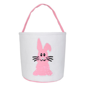 21 Styles Easter Bunny Bags Kids Easter Gifts Rabbit Ear Tail Pompom Basket Easter Egg Candies Tote Party Favors Bags LLA153