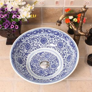 Blue and white Jingdezhen factory directly hand ceramic wash basin