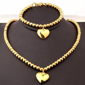 Cool Men Boy Stainless Steel Gold Tone Beads Round Rosary Chain Charm Heart Necklace&Bracelet Womens Jewelry Set