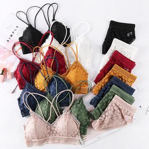 Linbaiway Женщины Push Up Sexy Bra Panty Set Цветочные кружева Bralette Сексуальное белье Беспроводные Бюстгальтер Трусы Set Трусы Intimates IOL7 #