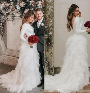2020 Livelli Glamorous maniche lunghe Abiti Country Wedding Cascading Ruffles Abiti da sposa Abiti da sposa Plus Size abito da sposa Boho