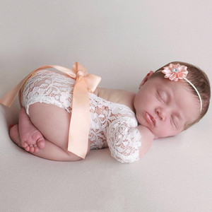 Newborn Baby Girl Lace Floral Jumpsuit Lace Dress Photo Props Clothes Suit With Hairband Bow Hairband