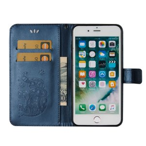 Elephants Embossed Leather Flip Wallet Phone Case for iphone XS Max XR 8 7 6S Plus Samsung S8 S9 S10E Plus Note 9 HuaWei