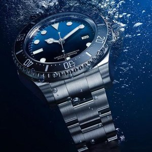 Mens Watch 44MM profunda Ceramic Bezel Sea-Dweller Sapphire Cystal aço inoxidável com Glide bloqueio Fecho mecânico automático mens relógios