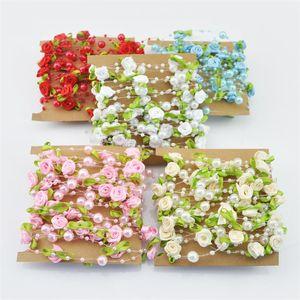 H603 5M / lot 8 milímetros Wedding Party pérolas Beads Cadeia Pesca Linha Artificial Rose Flower Garland Flores Decoração de alimentação