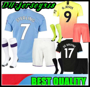19 20 Manchester kids Soccer Jerseys 2019 2020 camiseta RODRIGO KUN AGUERO STERLING city MAHREZ child boys FOOTBALL shirts