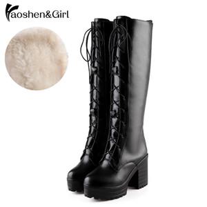 HaoshenGirl Gothic Chunky Bloco de Salto Alto Botas de Equitação Mulheres Sapatos Lace Up Plataforma Rock Cosplay Joelho Botas Altas Tamanho 33-43