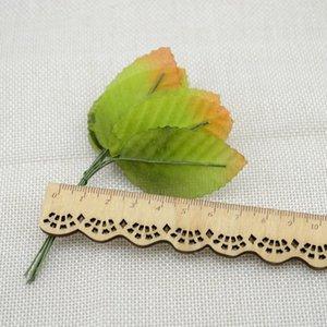 10pcs free shipping artificial flowers simulation rose leaf gold leaves fake silk flower floral decoration leaf home