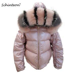 2019 Schinteon 여성 화이트 다운 재킷 큰 리얼 칼라 후드 겨울 착실히 보내다 가역 두 측면 오리 방수 코트를 착용