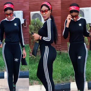 2020SS Women's long sleeve sportswear fashion breathable sports suit with pants Pullover 2 pieces women's running Yoga