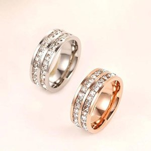 2015 Top Quality Famous Brand love rings for women titanium stainless steel rings steel rose gold color rings with two line