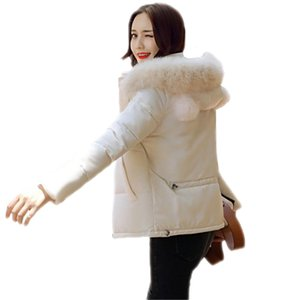 Women Winter Warm Thicken Loose Down Cotton Padded Coats Female Slim Faux Fur Collar Hooded Short Parkas With Scarf Jackets B21