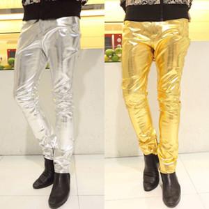 Goocheer New Men Skinny PU Pantalon en cuir Pantalon Brillant Or Argent Pantalon Boîte de nuit de mode Scène Costumes Singers danseur