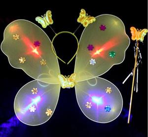 Aydınlık Kelebek Kanatları Üç Parçalı Renkli Flaş Ipek Çorap Set Karikatür Kanatları Çocuk Dans Performansı için WL197