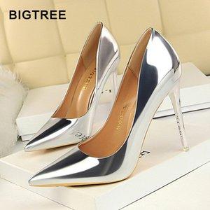 أحذية كبيرة جديدة براءات جلدية wonen مضخات الأزياء مكتب أحذية النساء مثير عالية الكعب أحذية نسائية حفل زفاف