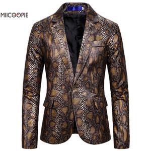 Miicoopie 2019 Fashion Style Blazer Python Homme Blazer Imprimer Homme Club Luxury Hommes Vêtements Vestes Designer