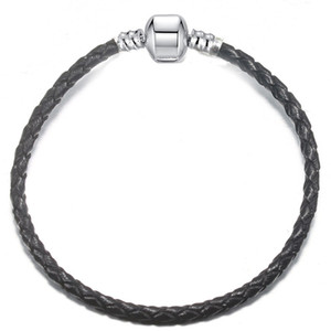 1pcs Tropfen-Verschiffen-Leder-Armband-Schwarz-Rot-Kette Fit für pandora Armband-Armband-Frauen-Kind-Geschenk B017