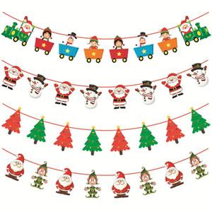 Drapeau Décorations de Noël Père Noël neige Man Arbre Stocking Drapeau de Noël Accueil Party Supplies Hanging Flag GGA2948-3
