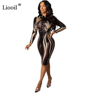 Sıkı Elbiseler Kadın Partisi Night Club sayesinde Liooil Pullu Seksi Mesh Şeffaf BODYCON Midi Elbise 2019 Sonbahar Kış Uzun Kollu bakın