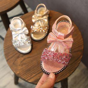 Muqgew Kızlar Sandalet Ilmek Bling Sequins Prenses Ayakkabı Kanca Döngü Kızlar Için Sevimli Kız Sandalet Sandalet Yaz Sandalias Fille MX190727
