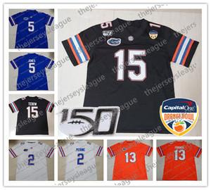 2020 New Orange Bowl Florida Gators # 2 Lamical Perine 5 Emory Jones 11 Kyle Trask 22 Emmitt Smith Blanc Jersey Bleu Noir Football