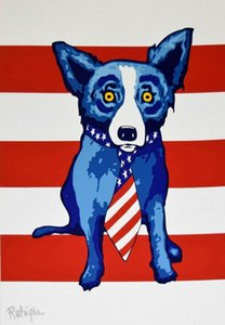a145# George Rodrigue Blue Dog Stripes Home Decor Handpainted &HD Print Oil Painting On Canvas Wall Art Canvas Pictures 200115