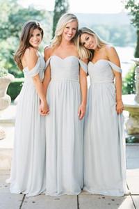 Prata Chiffon A-line longos vestidos da dama fora do ombro querido Ruched Cristais Belt Mulheres rústico da festa de casamento formal