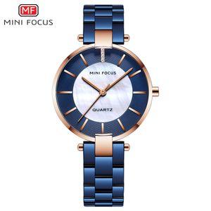 MINIFOCUS Reloj azul para mujer Reloj de pulsera de cristal para mujer de la mejor marca Montre Femme Reloj femenino