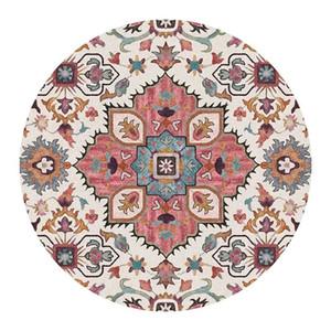 Retro la India Mandala redonda de la alfombra para la sala redonda Mat Flor nórdica Impreso Niños habitación grande geométrico manta de área de