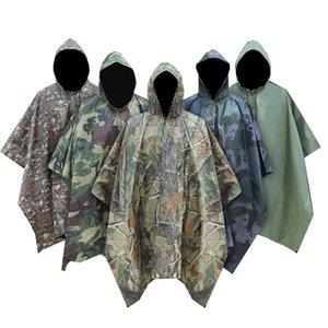 L'uomo militare impermeabile Camo Raincoat Pioggia impermeabile cappotto degli uomini Raincoat Donne Tenda dalla pioggia Moto pioggia Poncho Y200324