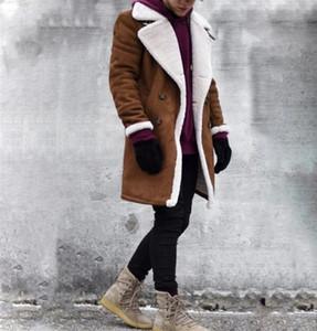 Зимняя Мужская Дизайнерская Куртка Мода Толстые Теплые Флисовые Пальто Из Искусственной Кожи Совершенно Новые Двубортные Мужские Пальто