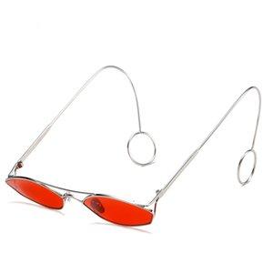 New hip hop pequenos óculos de sol tendência colorido filme personalidade óculos de metal quadro homens e mulheres óculos de sol de metal