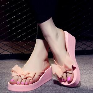 2020 neue Frauen-Sommer-Plattform-Schuhe Bowknot hohe flache Ferse Holiday Beach Slippers Sandalen EVA Frauen Hausschuhe Sapato Feminino