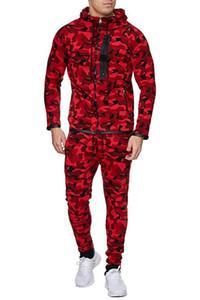 Herren-Sets Männer Print Zipper Camouflage Sweatshirt mit Kapuze Spitze Hosen Herrenkleidung 2 Stück Sets Sport Anzug Anzug Fitness