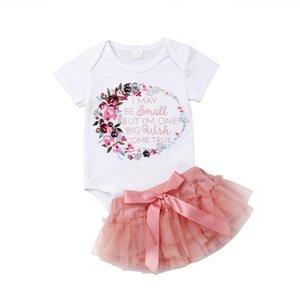 0-24 M Bebê Recém-nascido Da Menina Da Criança Romper Algodão Floral + Lace Tutu Saia Roupas de Bebê