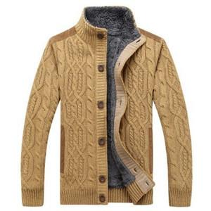 Inverno New Mens Thick Pelliccia Twist Twist Sweatatcoat Solid Color Maglione Maschio Slim Fit Maglia Capispalla in lana Faux Sweater Cappotto in pelliccia