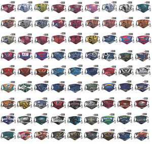 transporte DHL 2020 novo 5 camada de máscara protetora máscara time de futebol máscara designer de personalidade puro algodão baseball rosto poeira PM2.5