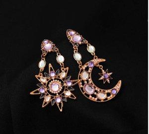 Fashion stars moon earrings asymmetric earrings