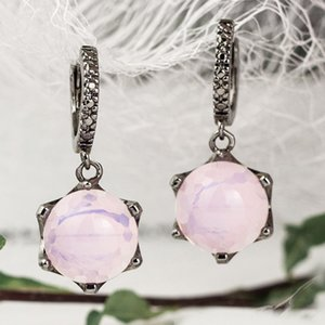Pink Dangle Earrings Round Stone with Cut pattern Clip circle Jewellery Sweet Jewelry Drop earring Gift for Women
