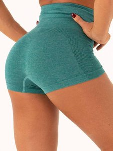 LEOQ Sexy Seamless Yoga Shorts mit hoher Taille Gym Fitness Kleidung Laufen Active Wear Sport Women Short Training Feste Hosen