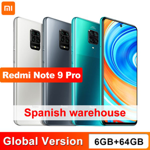 "Глобальная версия Xiaomi Redmi Note 9 Pro 6 ГБ 64 ГБ NFC Smartphone Snapdragon 720G Octa Core 64MP Quad Camera 6.67 ""Экран 5020mAh"