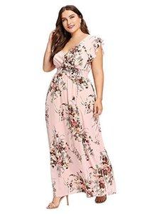 Plus Size Floral Bedruckte Kleider Mode Hohe Taille V-Ausschnitt Kleider Frauen Kurzarm Eine Linie Kleider