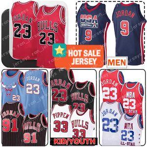 23 Michael Jersey Bull 91 Dennis Rodman 33 Scottie Pippen Jersey 23 MJ Mens enfant 9 Michael Throwback Basketball Maillots